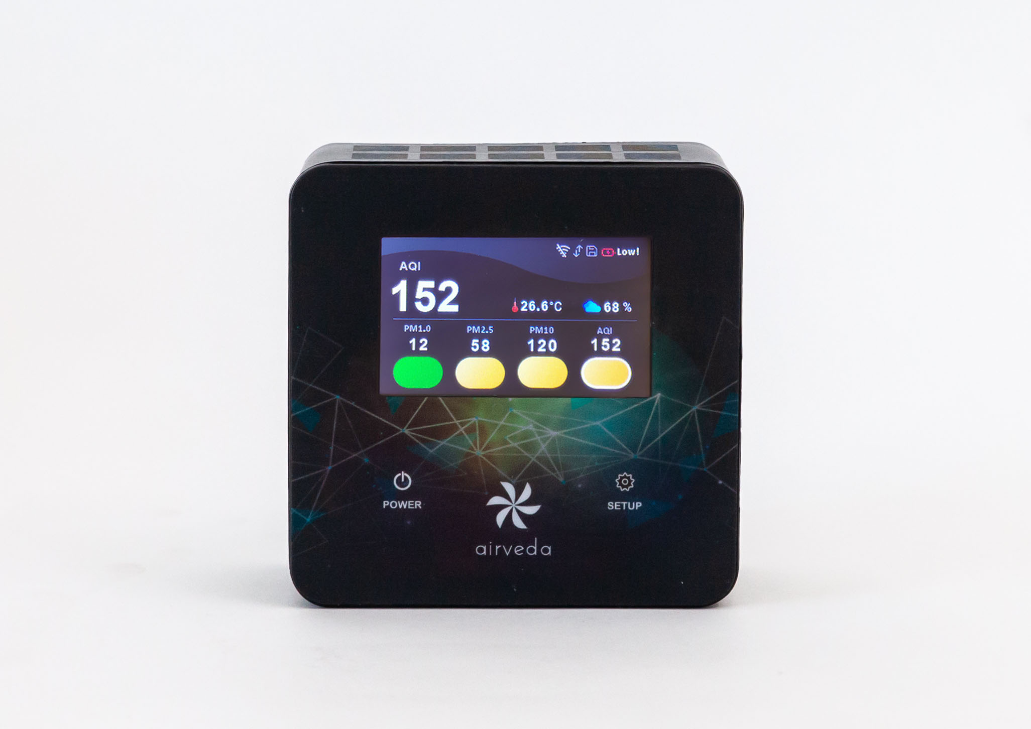 Airveda PM12510TH-T br; PM1.0, PM2.5, PM10, AQI, Temp, Humidity Monitor- Touch