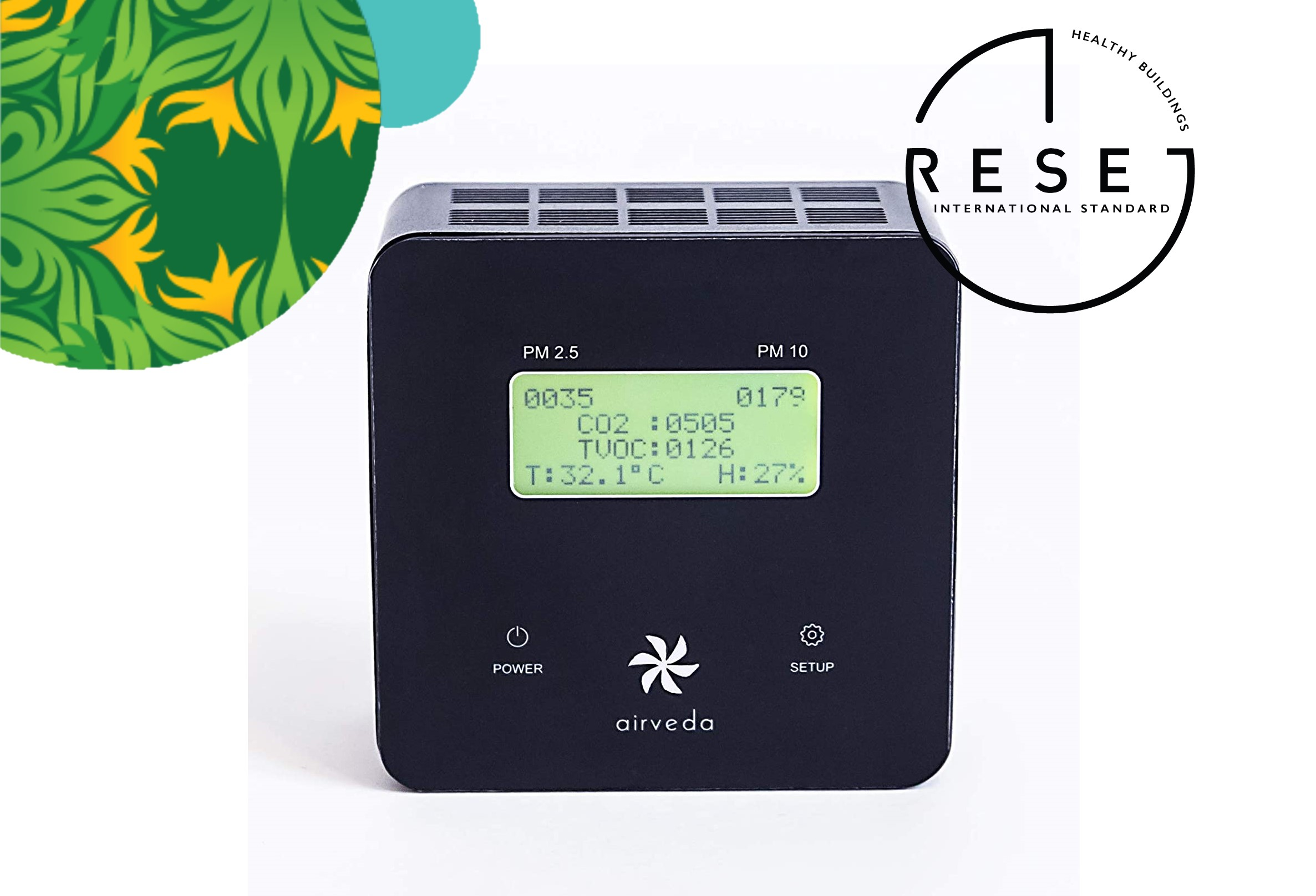 RESET certified Airveda PM2.5, PM10, CO2, TVOC, Temp, Humidity Monitor