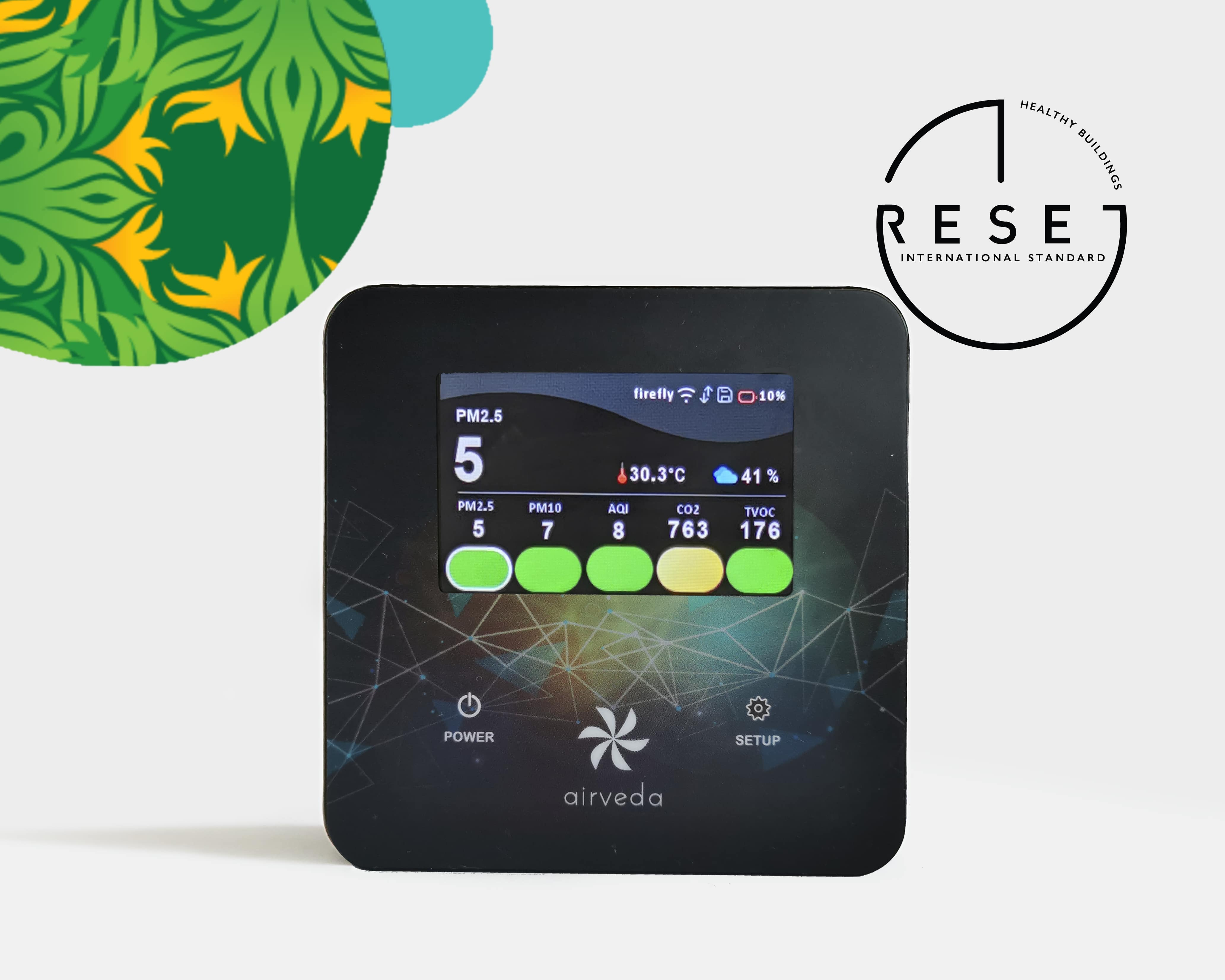 Airveda RESET certified PM2510CVTH br; PM2.5, PM10, CO2, TVOC, Temp, Humidity Monitor Pro Touch Aurora